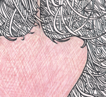 Hair and heart Sticker