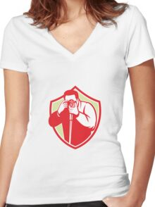 Photographer Shooting Camera Shield Retro Women's Fitted V-Neck T-Shirt