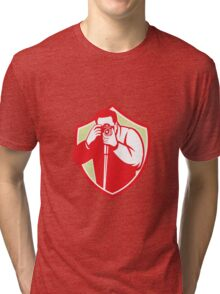 Photographer Shooting Camera Shield Retro Tri-blend T-Shirt