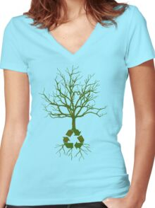 ITS EASY BEING GREEN Women's Fitted V-Neck T-Shirt