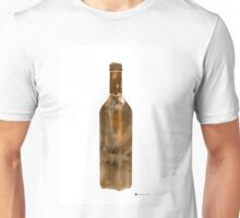 Bottle of wine silhouettes art print watercolor painting Unisex T-Shirt