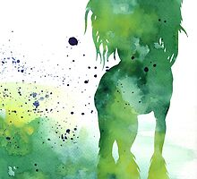 Green abstract chinese crested artwork watercolor painting by Joanna Szmerdt