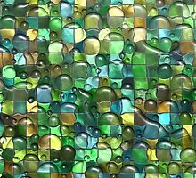 Wet Water Green Yellow Square Tile Mosaic Pattern by TigerLynx