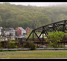 Fog Lifting Over Easton, PA by Bridges