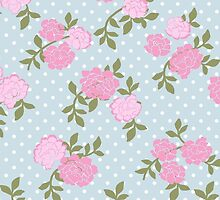 Shabby Chic Polka Dots, Roses - Blue Pink Green  by sitnica