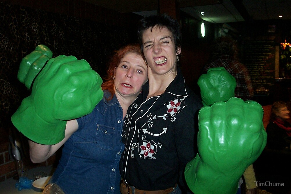 Trish and Sarah with Hulk Hands by TimChuma