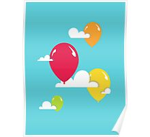 Clouds and Balloons Poster