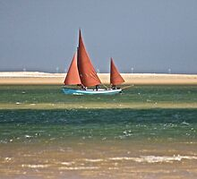 Red Sail Boat by MyriadPhoto