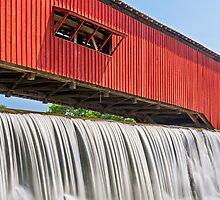 Bridgeton Covered Bridge and Waterfall by Kenneth Keifer