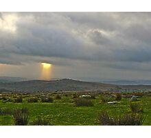 Shaft of Light over Dartmoor Devon England Photographic Print