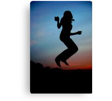 Girl on a Trampoline Canvas Print