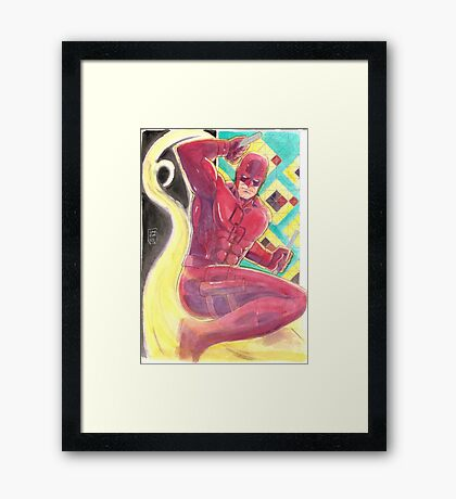 Fearless Daredevil Stained Glass and Smoke Framed Print