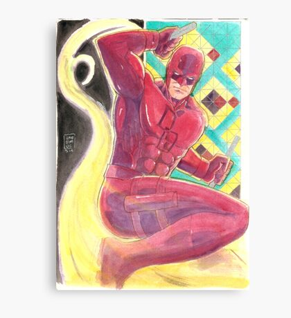 Fearless Daredevil Stained Glass and Smoke Canvas Print