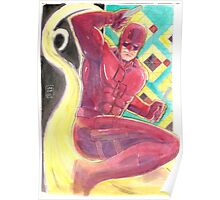 Fearless Daredevil Stained Glass and Smoke Poster