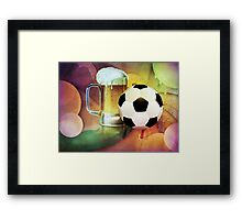 Beer Glass and Soccer Ball Framed Print