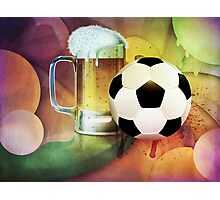 Beer Glass and Soccer Ball Photographic Print