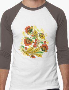 Khokhloma flower Men's Baseball ¾ T-Shirt