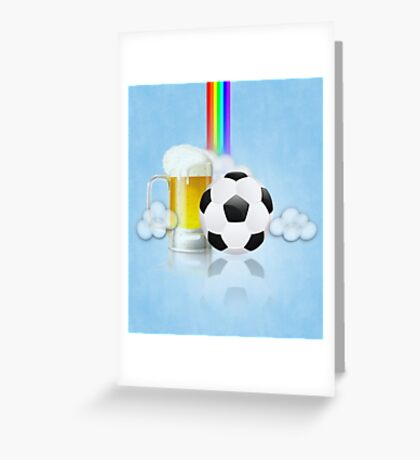Beer Glass and Soccer Ball 2 Greeting Card