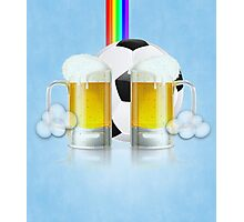 Beer Glass and Soccer Ball 3 Photographic Print