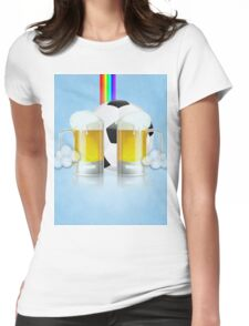 Beer Glass and Soccer Ball 3 Womens Fitted T-Shirt
