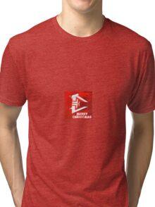 Red-White Merry Christmas! Tri-blend T-Shirt