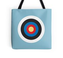 Bulls Eye, Right on Target, Roundel, Archery, on Blue Tote Bag