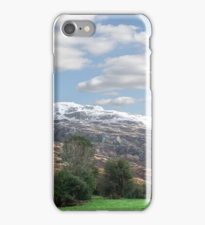 rocky mountain and fields countryside snow scene iPhone Case/Skin