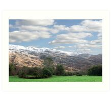 rocky mountain and fields countryside snow scene Art Print