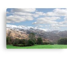 rocky mountain and fields countryside snow scene Metal Print