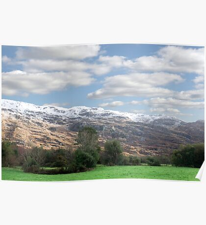 rocky mountain and fields countryside snow scene Poster