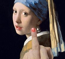 Girl with Pearl Earing- Gives the finger by divografix