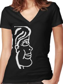 Lady in white Women's Fitted V-Neck T-Shirt
