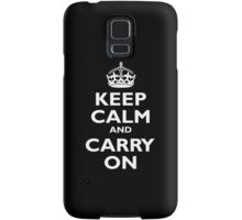 Keep Calm & Carry On, Be British! Blighty, UK, United Kingdom, white on black Samsung Galaxy Case/Skin