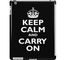 Keep Calm & Carry On, Be British! Blighty, UK, United Kingdom, white on black iPad Case/Skin