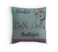 horrible goth dolls boutique Throw Pillow