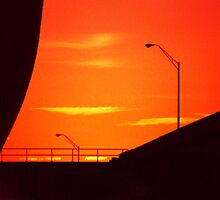 Sunset Bridge Silhouette by Harlan Mayor