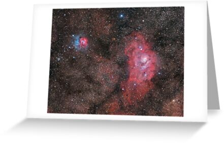 Lagoon and Trifid Nebula by Phil Hart