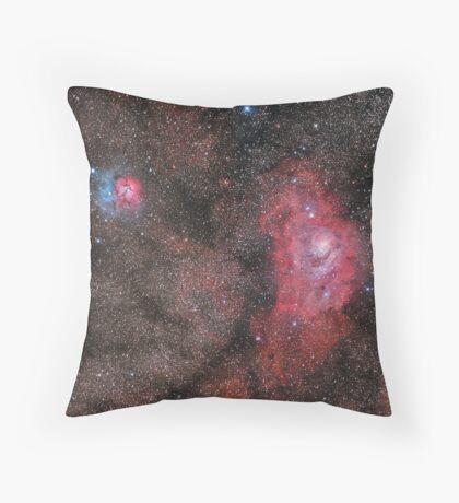 Lagoon and Trifid Nebula Throw Pillow