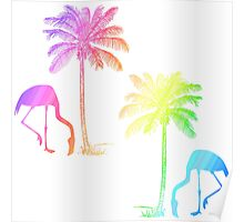 Tropical Pastel Rainbow Flamingo and Palm Tree Poster