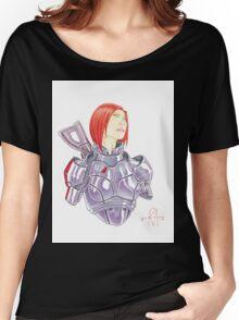 Mass Effect Commander Shepard FemShep Fan Art Bust Women's Relaxed Fit T-Shirt