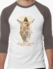 jesus est arrivé par minou Men's Baseball ¾ T-Shirt