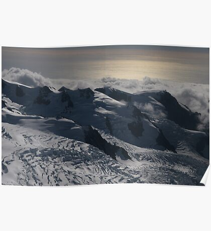 late afternoon view of Glaciers on mount cook Poster