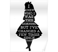 Alice In Wonderland I Knew Who I Was Quote Mad Hatter Chesire Cat Poster