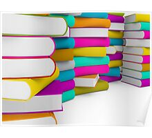 multiple colorful books stack Poster