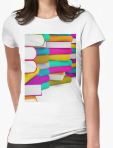 multiple colorful books stack Womens Fitted T-Shirt
