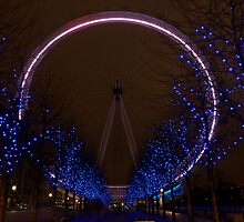 London Eye at night by Johan Lindstrom