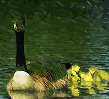 Canada Goose and Goslings Abstract Impressionism by pjwuebker