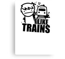 ASDF T-Shirt I Like Trains  Canvas Print