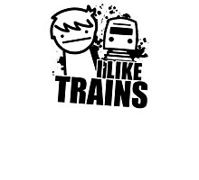 ASDF T-Shirt I Like Trains  Photographic Print