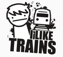 ASDF T-Shirt I Like Trains  by Cinemadelic